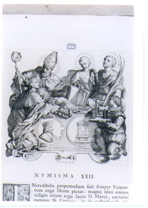 ALLEGORIA CON RECTO E VERSO DI MEDAGLIA CELEBRATIVA DI GIACOMO BARBADIGO (stampa) di Van Audenaerde Robert (sec. XVIII)