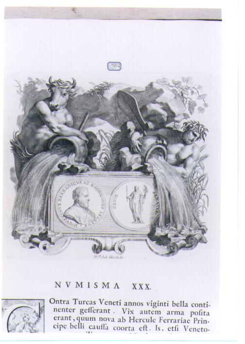 ALLEGORIA CON RECTO E VERSO DI MEDAGLIA CELEBRATIVA DI AGOSTINO BARBADIGO (stampa) di Van Audenaerde Robert (sec. XVIII)