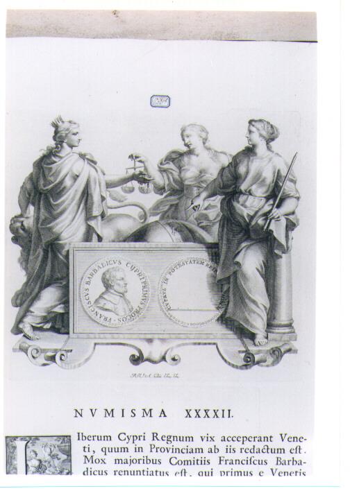 ALLEGORIA CON RECTO E VERSO DI MEDAGLIA CELEBRATIVA DI FRANCESCO BARBADIGO (stampa) di Van Audenaerde Robert (sec. XVIII)