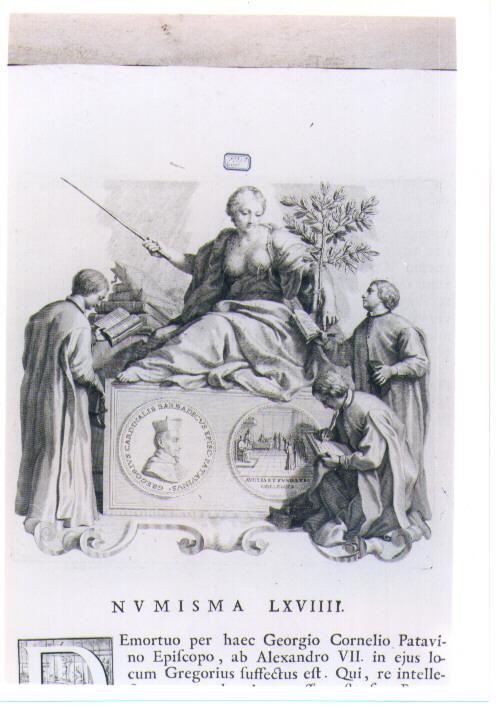 ALLEGORIA CON RECTO E VERSO DI MEDAGLIA CELEBRATIVA DEL CARDINALE GIORGIOBARBADIGO (stampa) di Van Audenaerde Robert (sec. XVIII)