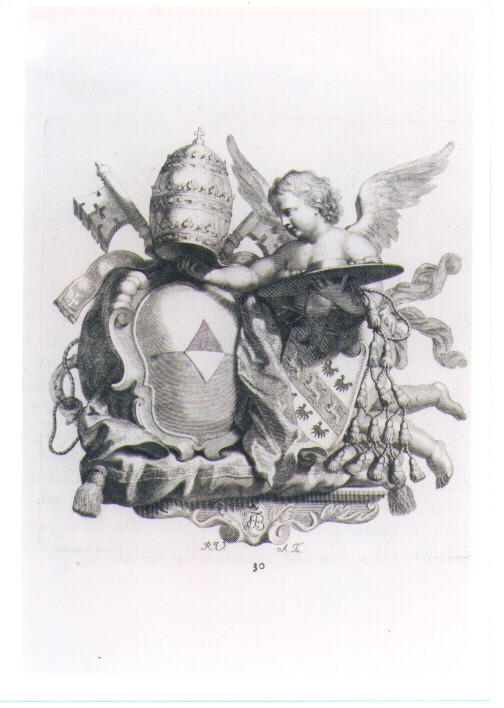 ANGELO CON STEMMA PAPALE E CARDINALIZIO (stampa) di Van Audenaerde Robert (sec. XVIII)