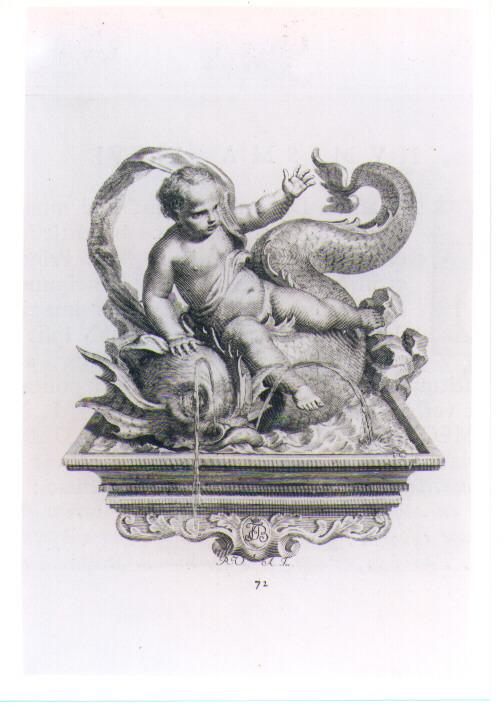 PUTTO SU DELFINO (stampa) di Van Audenaerde Robert (sec. XVIII)