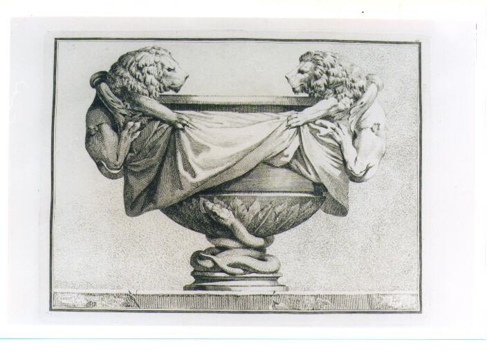 COPPA CON LEONE E SERPENTE (stampa) di Petitot Ennemond Alexandre, Bossi Benigno (sec. XVIII)