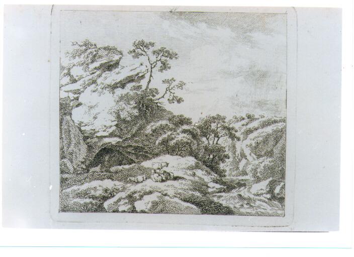 PAESAGGIO FLUVIALE CON GREGGE (stampa) di Schallhas Carl Philipp (attribuito) (fine sec. XVIII)