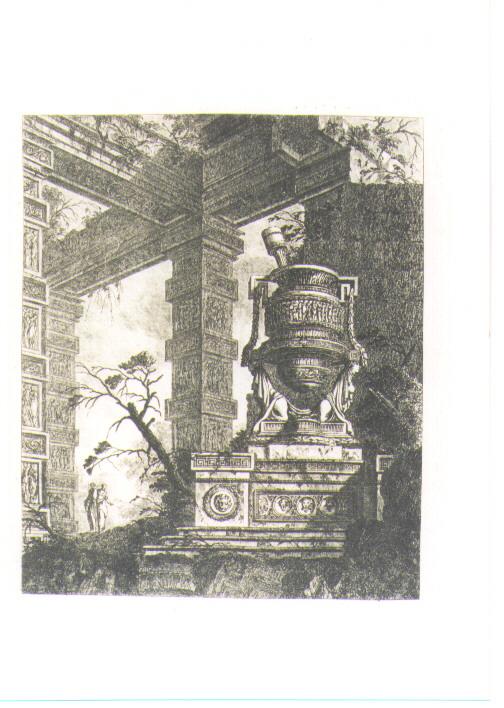 PAESAGGIO CON ROVINE E VASO (stampa) di Le Geay J. L (sec. XVIII)