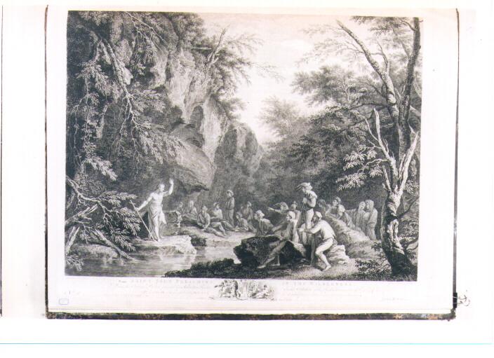 PREDICA DI SAN GIOVANNI BATTISTA (stampa) di Rosa Salvator, Browne John, Earlom Richard (sec. XVIII)