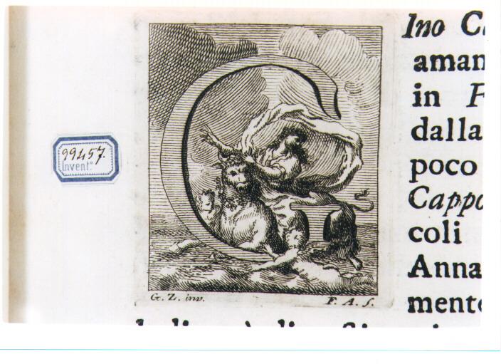 CAPOLETTERA G CON RATTO DI EUROPA (stampa) di Zocchi Giuseppe, Allegrini Francesco (sec. XVIII)
