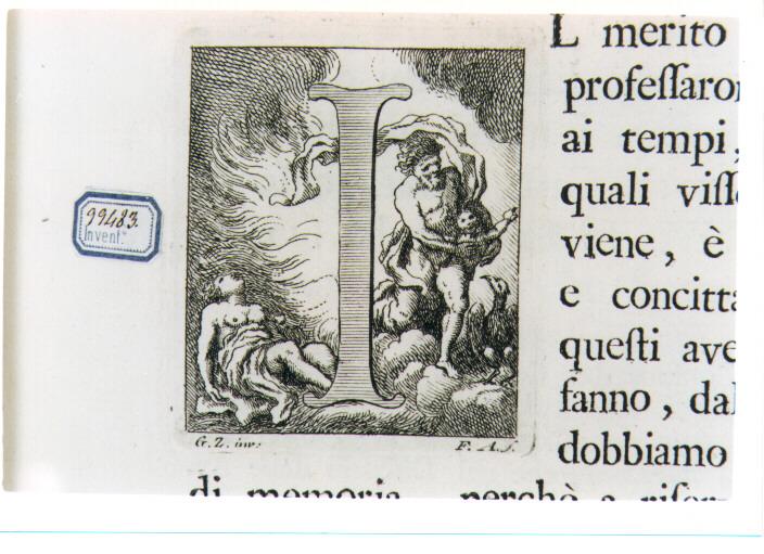 CAPOLETTERA I CON GIOVE SOTTO FORMA DI FIAMMA RAPISCE EGINA ? (stampa) di Zocchi Giuseppe, Allegrini Francesco (sec. XVIII)