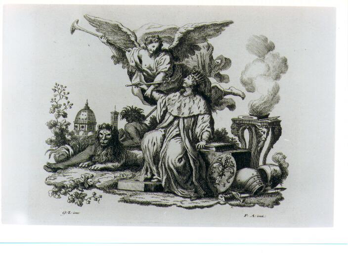 ALLEGORIA DELLA GLORIA DI FIRENZE (stampa) di Zocchi Giuseppe, Allegrini Francesco (sec. XVIII)