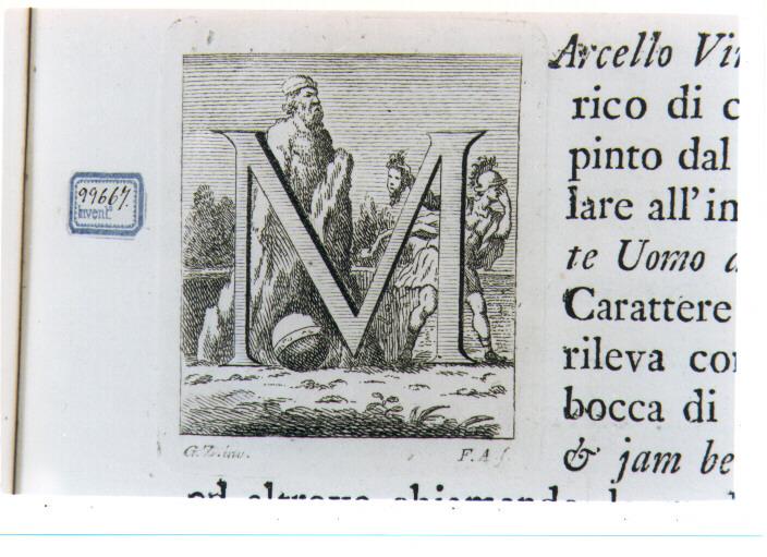 CAPOLETTERA M CON PERSEO CHE TRASFORMA ATLANTE IN PIETRA (stampa) di Zocchi Giuseppe, Allegrini Francesco (sec. XVIII)