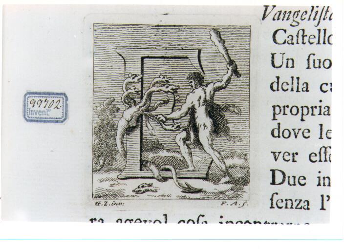 CAPOLETTERA E CON ERCOLE E L'IDRA DI LERNA (stampa) di Zocchi Giuseppe, Allegrini Francesco (sec. XVIII)