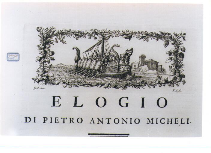 NAVE CON SOLDATI (stampa) di Zocchi Giuseppe, Allegrini Francesco (sec. XVIII)