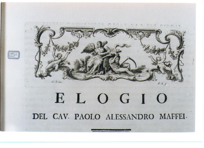 ALLEGORIA DELLA STORIOGRAFIA (stampa) di Zocchi Giuseppe, Allegrini Francesco (sec. XVIII)