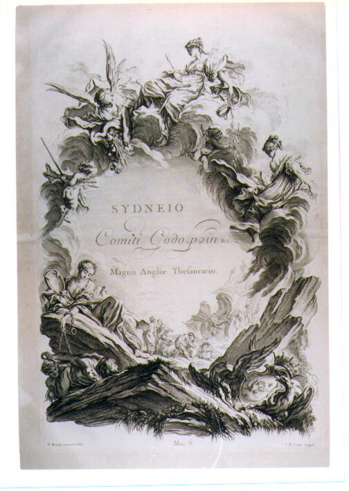 LASTRA CELEBRATIVA DI GODOLPHIN CONTE DI SYDNEY (stampa) di Boucher Francois, Cochin Charles Nicolas I detto Père (sec. XVIII)