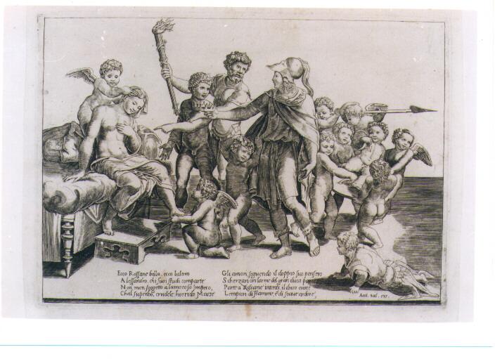 ALESSANDRO MAGNO E ROSSANE (stampa controfondata) di Sanzio Raffaello detto Raffaello (maniera), Caraglio Giovanni Giacomo (metà sec. XVI)
