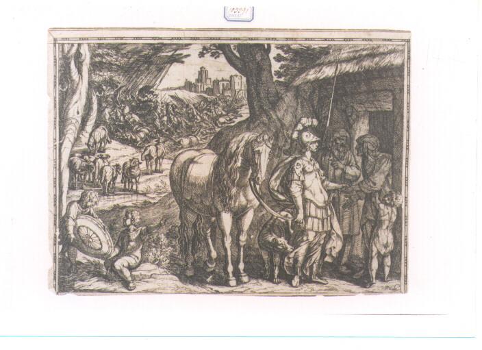 EPISODIO DELLA GERUSALEMME LIBERATA: CANTO VII (stampa controfondata smarginata) di Tempesta Antonio (secc. XVI/ XVII)