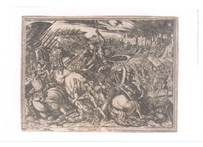 EPISODIO DELLA GERUSALEMME LIBERATA: CANTO IX (stampa controfondata smarginata) di Tempesta Antonio (secc. XVI/ XVII)