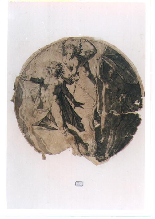 CREAZIONE DEL GIORNO E DELLA NOTTE (stampa controfondata smarginata) di Goltzius Hendrick (maniera), Muller Jan (primo quarto sec. XVII)