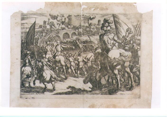 ASSEDIO DI CITTA' (stampa controfondata) di Tempesta Antonio (sec. XVII)