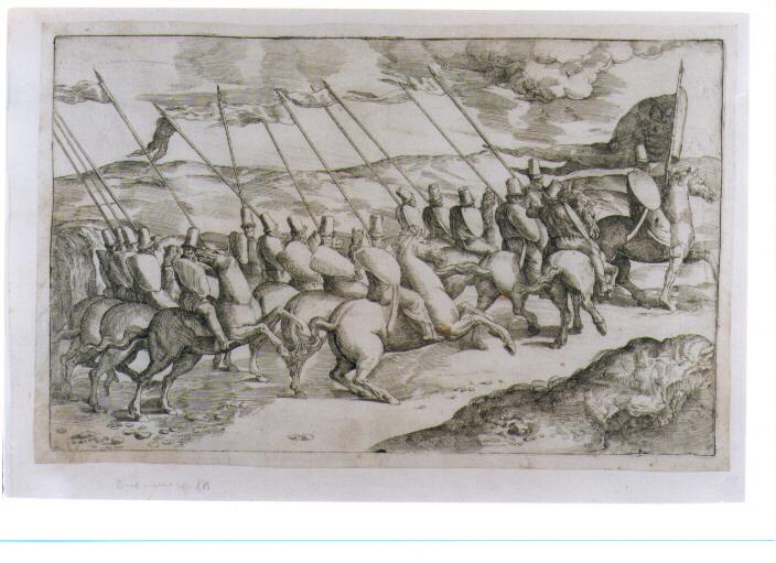 COMPAGNIA DI CAVALIERI CON STENDARDO DI PAPA LEONE X (stampa controfondata) di Franco Giovanni Battista detto Semolei (sec. XVI)