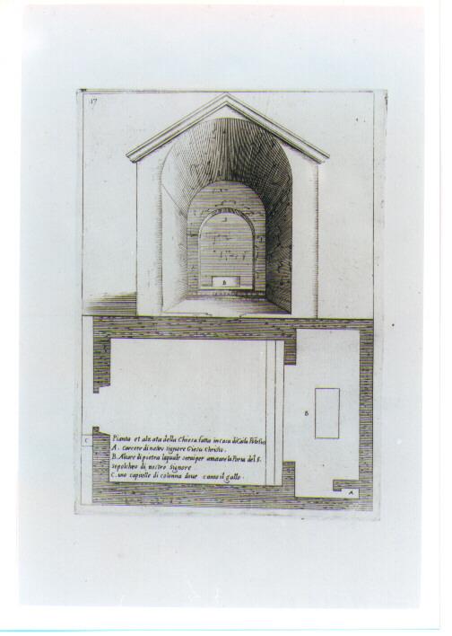 PIANTA E ALZATO DELLA CHIESA DEL PONTEFICE CAIFA (stampa) di Amico Bernardino, Callot Jacques (sec. XVII)