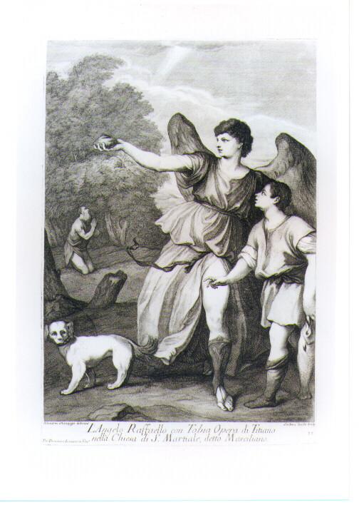 TOBIA E SAN RAFFAELE ARCANGELO (stampa tagliata) di Vecellio Tiziano, Zucchi Andrea, Manaigo Silvestro (prima metà sec. XVIII)