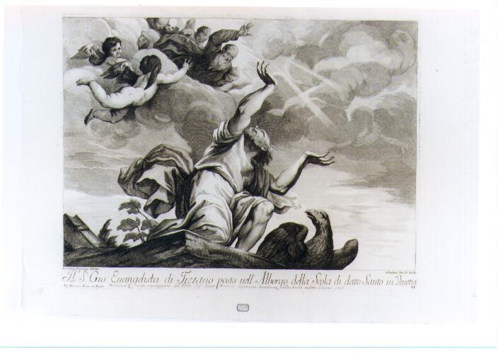 SAN GIOVANNI EVANGELISTA (stampa tagliata) di Vecellio Tiziano, Zucchi Andrea, Manaigo Silvestro (prima metà sec. XVIII)