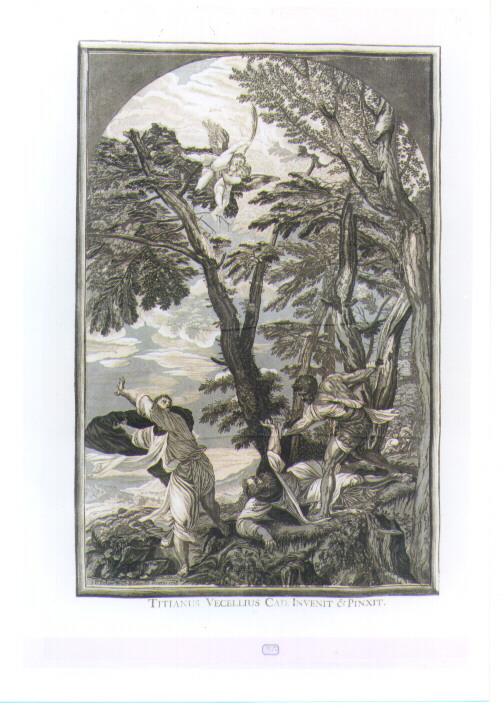MARTIRIO DI SAN PIETRO DOMENICANO (stampa tagliata) di Vecellio Tiziano, Jackson John Baptist (sec. XVIII)