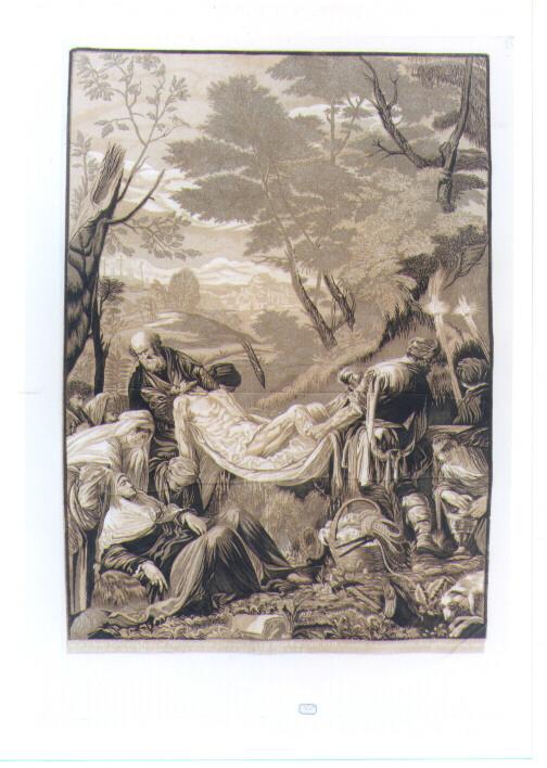 DEPOSIZIONE DI CRISTO NEL SEPOLCRO (stampa tagliata) di Da Ponte Francesco detto Jacopo Bassano, Jackson John Baptist (sec. XVIII)