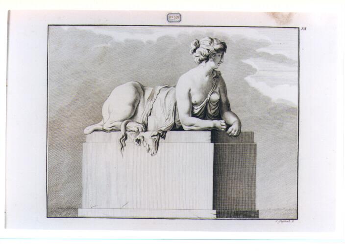 STATUA DI SFINGE (stampa) di Beyer Johann Christian Wilhelm, Glassbach Christian Benjamin (sec. XVIII)