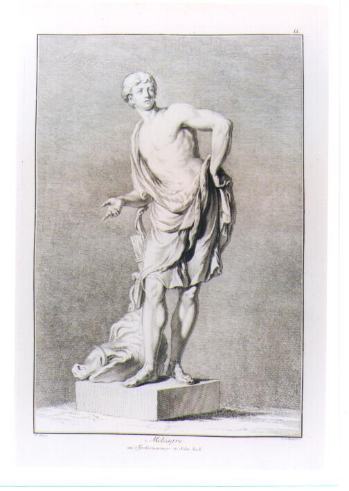 STATUA DI MELEAGRO CON LA TESTA DEL CINGHIALE CALIDONIO (stampa) di Beyer Johann Christian Wilhelm, Mansfeld Johann Ernst (sec. XVIII)