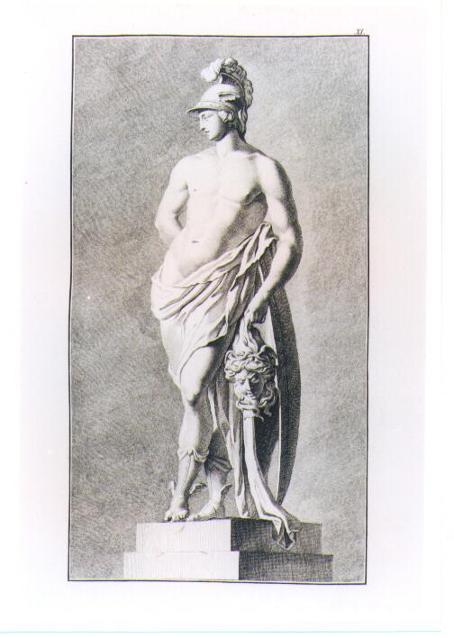 STATUA DI PERSEO CON LA TESTA DI MEDUSA (stampa) di Beyer Johann Christian Wilhelm, Kruger Johann Conrad (sec. XVIII)