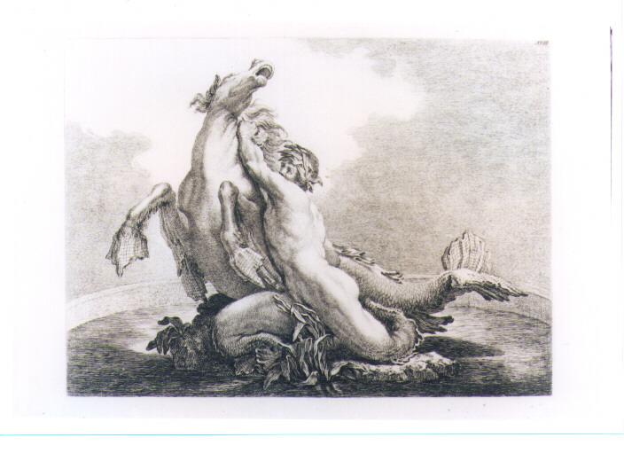 FONTANA CON TRITONE E CAVALLO MARINO (stampa) di Beyer Johann Christian Wilhelm - AMBITO VIENNESE (sec. XVIII)