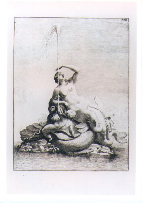 FONTANA CON NAIADE MOSTRO MARINO E PUTTO (stampa) di Beyer Johann Christian Wilhelm - AMBITO VIENNESE (sec. XVIII)