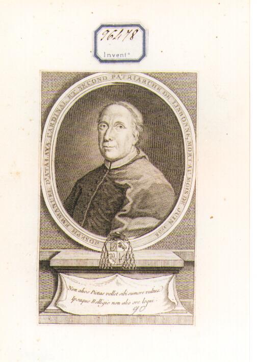 RITRATTO DEL CARDINALE D'ATALAYA (stampa controfondata smarginata) - ambito francese (sec. XVIII)