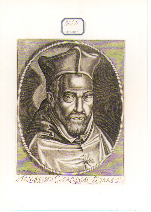 RITRATTO DEL CARDINALE D'OSSAT (stampa controfondata smarginata) di Pelais J. Michel (sec. XVII)