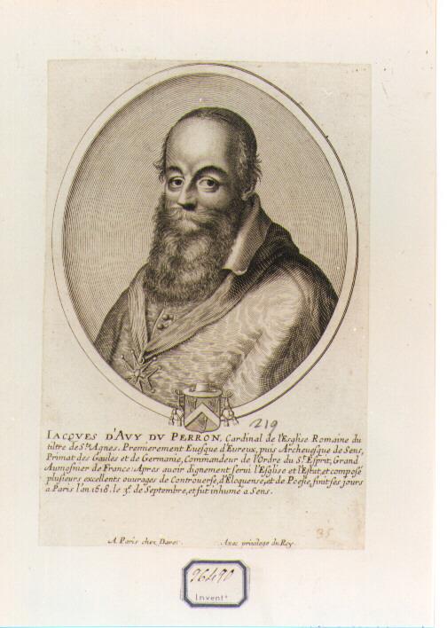 RITRATTO DEL CARDINALE JACQUES D'AVY DU PERRON (stampa controfondata smarginata) di Daret Pierre (CERCHIA) (sec. XVII)
