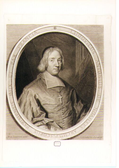 RITRATTO DEL CARDINALE LOUIS ANTOINE DE NOAILLES (stampa controfondata smarginata) di De Largillière Nicolas, Vermeulen Cornelis (seconda metà sec. XVII)
