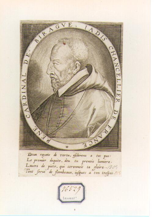 RITRATTO DEL CARDINALE DE BIRAGUE (stampa controfondata smarginata) di De Leu Thomas (secc. XVI/ XVII)
