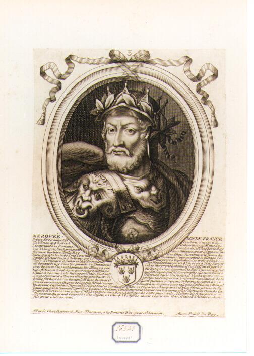 RITRATTO DI MEROVEO RE DI FRANCIA (stampa controfondata smarginata) di De Larmessin Nicolas il Vecchio (seconda metà sec. XVII)