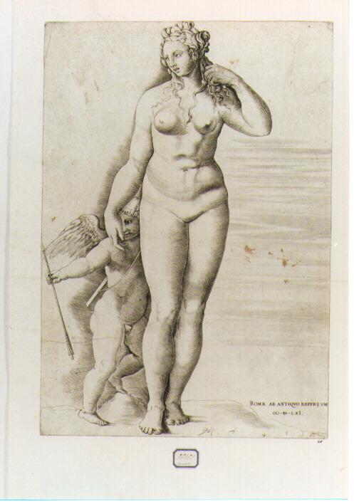 VENERE E CUPIDO (stampa controfondata smarginata) di Bertelli Ferdinando (CERCHIA), Franco Giovanni Battista detto Semolei (sec. XVI)