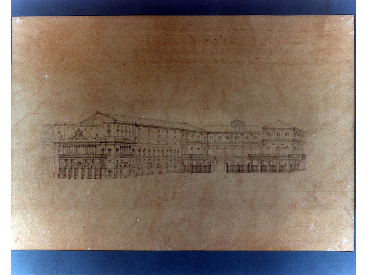 progetto di sistemazione del fianco del teatro San Carlo (disegno) di Niccolini Antonio (sec. XIX)