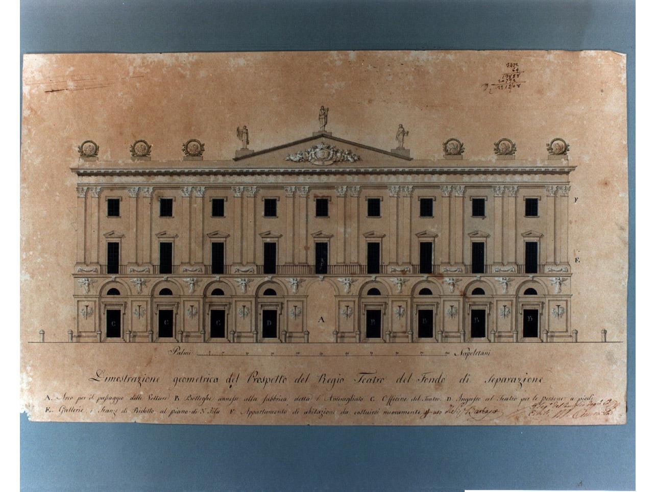 facciata del teatro del fondo (disegno) di Niccolini Antonio (sec. XIX)