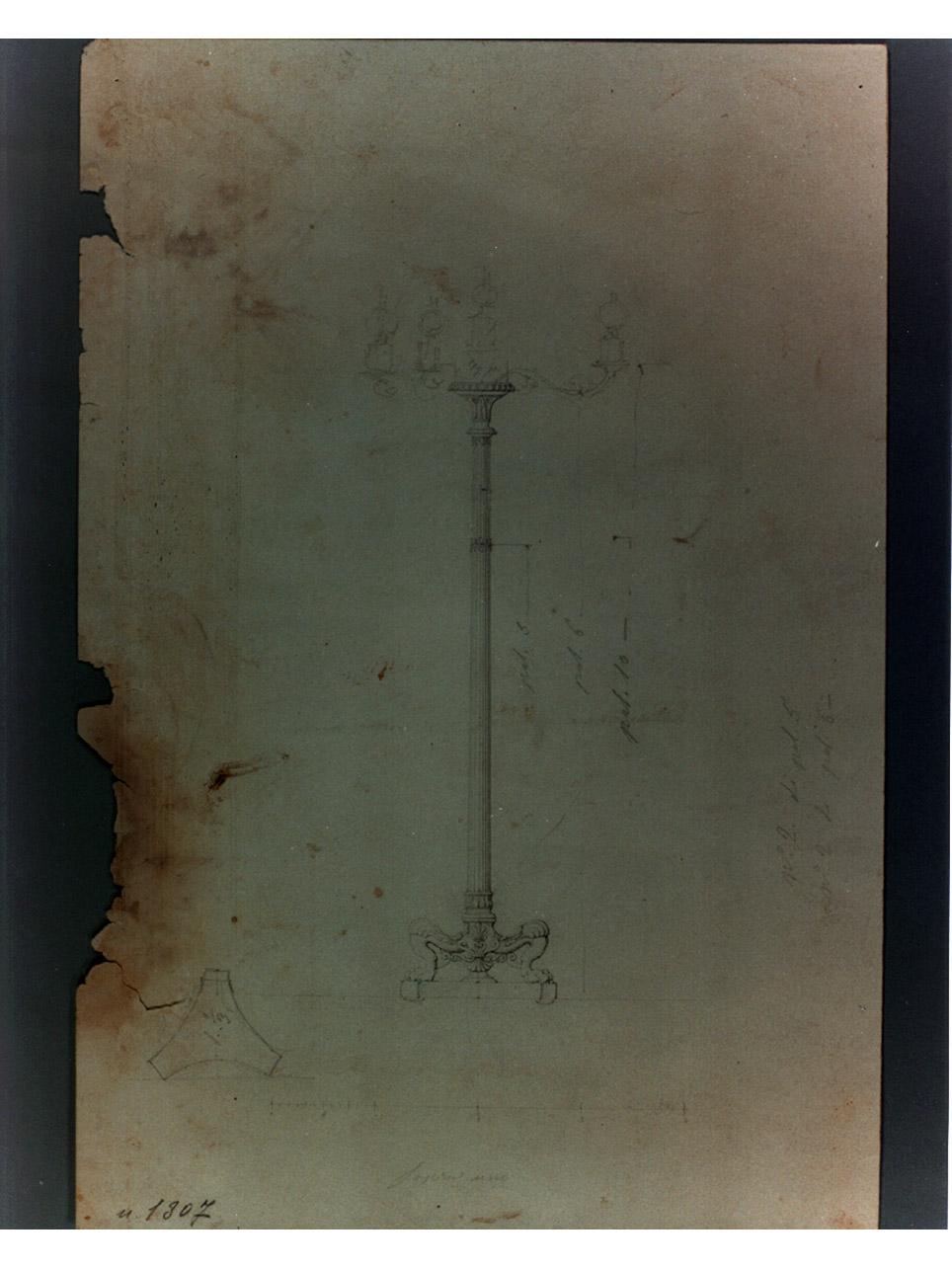lampione (disegno) di Niccolini Antonio (sec. XIX)