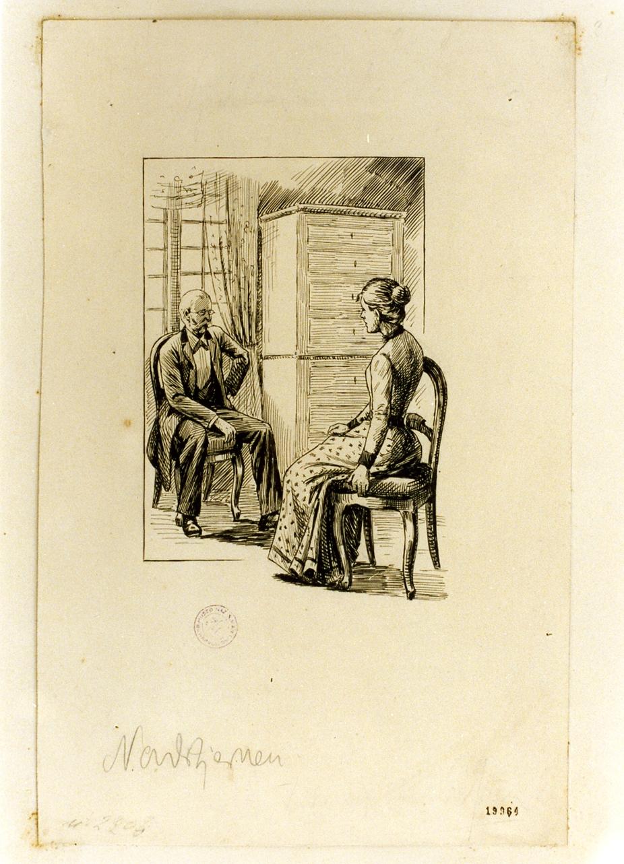 interno con figure (disegno) - ambito danese (sec. XIX)