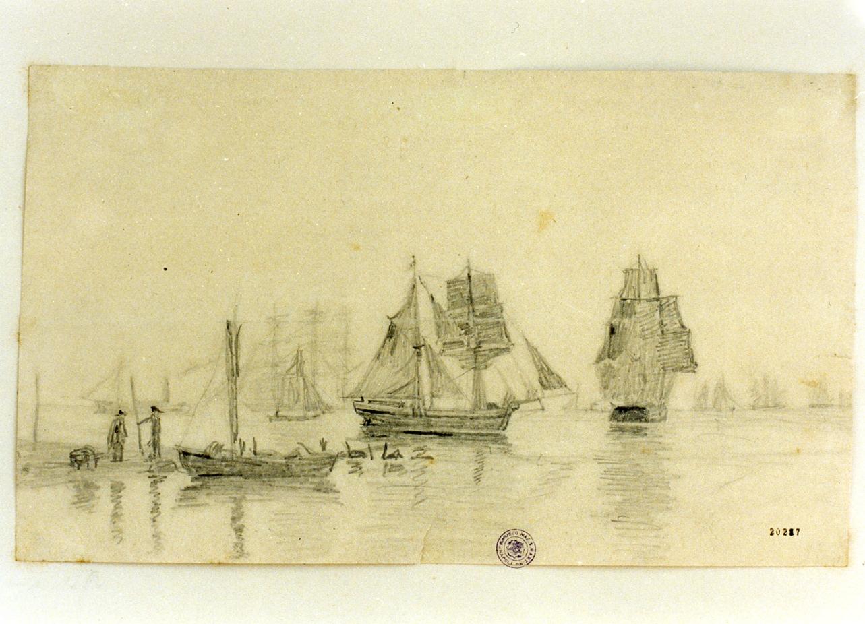 canale di Drogden presso Copenaghen (disegno) di Wennerwald Emil August Theodor (ultimo quarto sec. XIX)