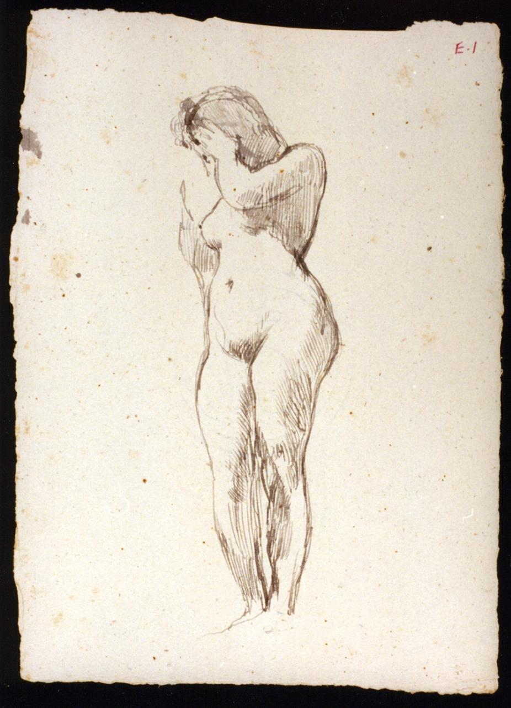figura femminile nuda (disegno) di Vetri Paolo (secc. XIX/ XX)