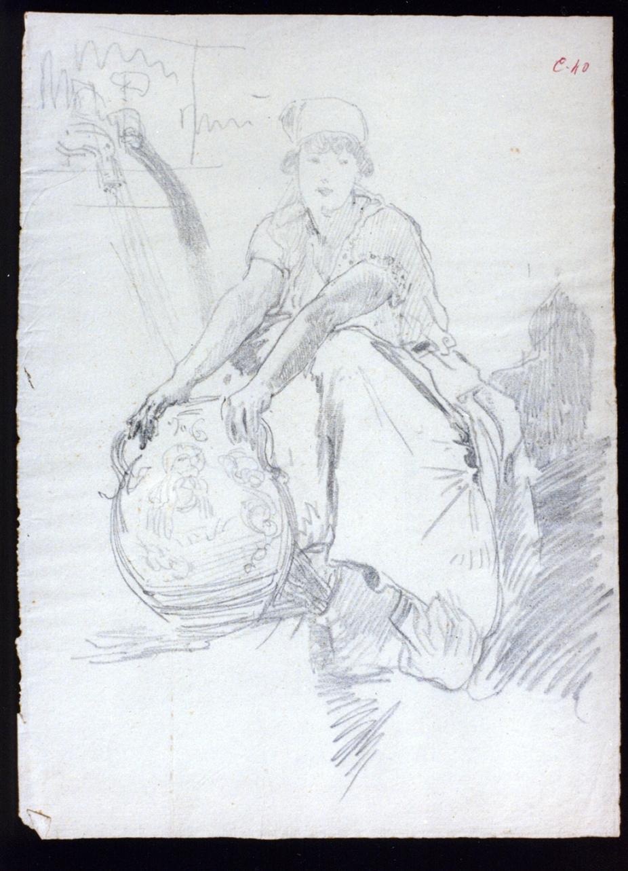 donna alla fontana (disegno) di Vetri Paolo (secc. XIX/ XX)
