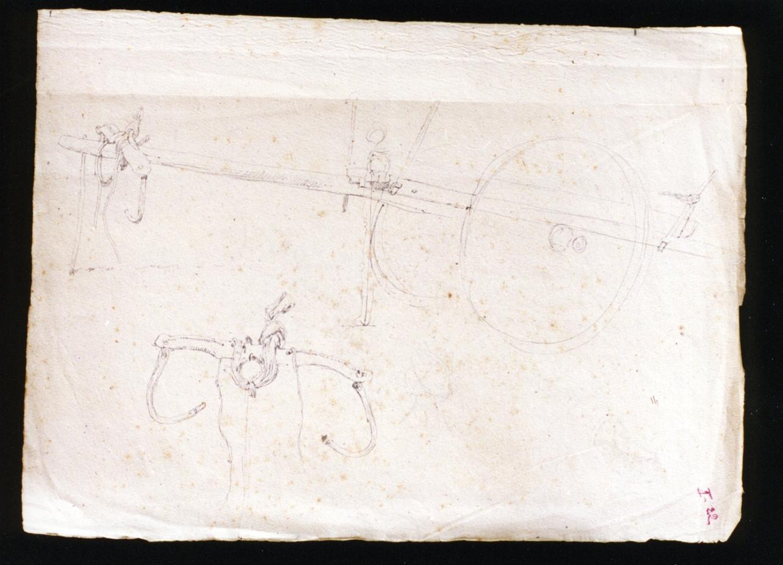 studio di un carro/ giogo di buoi (disegno) di Vetri Paolo (fine/inizio secc. XIX/ XX)