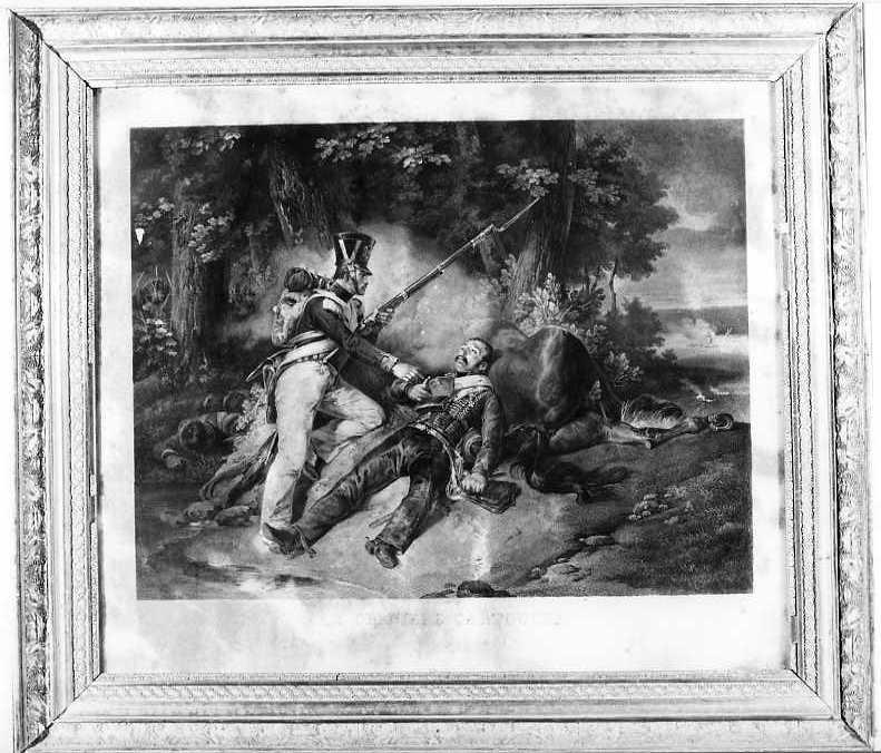L'ultima cartuccia, Incisione ad acquaforte (stampa, serie) di Cholet Samuel-Jean-Joseph, Vernet Horace (prima metà sec. XIX)